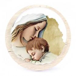 Quadretto Maternità in legno Diametro 11 cm