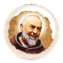 Quadretto San Pio da Pietrelcina in legno chiaro Diametro 11 cm