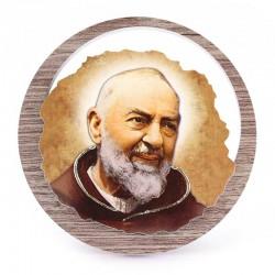 Quadretto San Pio da Pietrelcina in legno scuro Diametro 11 cm
