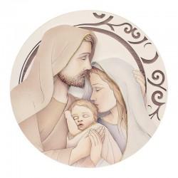 Quadro Capoletto Sacra Famiglia in legno Diametro 60 cm