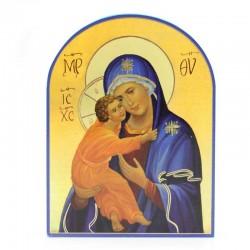 Quadretto Madonna Bambino legno cupola 11x15 cm