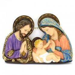 Placca Sacra Famiglia resina colorata 40x30 cm