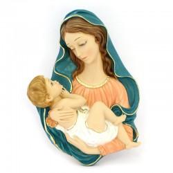Placca Madonna con Bambino in resina colorata 25x35 cm