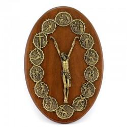 Quadro ovale in legno Crocifisso con Via Crucis 23x35 cm