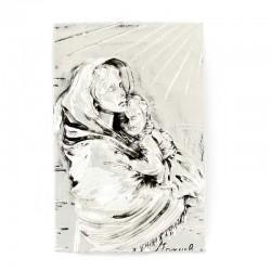 Placca Madonna del Ferruzzi resina argentata 9x13 cm