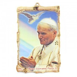 Quadretto pergamena Beato Giovanni Paolo II 10x15 cm