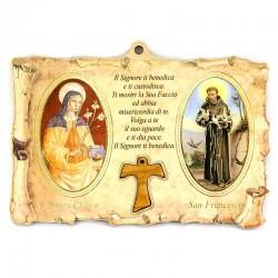 Quadretto Pergamena San Francesco e Santa Chiara 15x10 cm