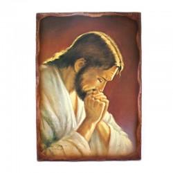 Praying Jesus table print on wood  50x70 cm