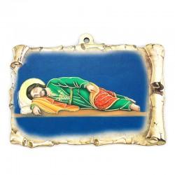 Quadretto pergamena San Giuseppe dormiente 15x10 cm