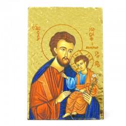 Quadretto Icona San Giuseppe in legno 6x8,5 cm