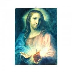 Quadro Sacro Cuore su tela stampata 18x24 cm