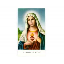 Immagine Sacro Cuore di Maria con preghiera 11x6 cm pz 100