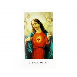 Immagine Sacro Cuore di Gesù-C con preghiera 11x6 cm pz 100