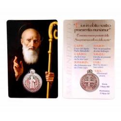 Card San Benedetto con Medaglia 5,5x8,5 cm