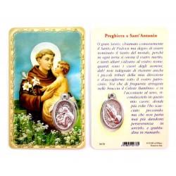 Card Sant'Antonio con Medaglia 5,5x8,5 cm