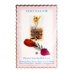 Image Risen Jesus with Flower Holy Land 6.5x10 cm
