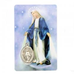 Tesserina plastificata Madonna Miracolosa con Medaglia 8,5x5,5 cm