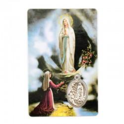 Tesserina plastificata Madonna di Lourdes con Medaglia 8,5x5,5 cm