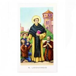 Immagine San Leonardo con preghiera 6x11 cm pz 100