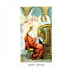 Immagine Santa Cecilia con preghiera 6x11 cm pz 100