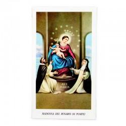 Immagine Madonna del Rosario di Pompei con preghiera 6x11 cm pz 100