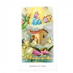 Immagine Madonna di Loreto con preghiera 6x11 cm pz 100