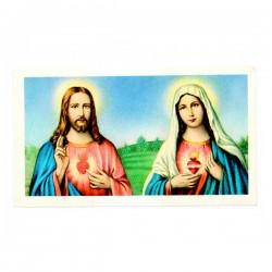 Immagine Sacro cuore di Gesù e Maria con preghiera 6x11 cm pz 100