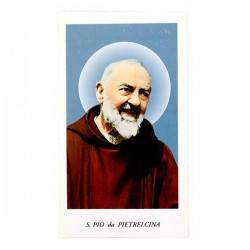 Immagine San Pio da Pietrelcina con preghiera 6x11 cm pz 100