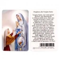 Card plastificata Madonna di Lourdes con medaglia 5,5x8,5 cm