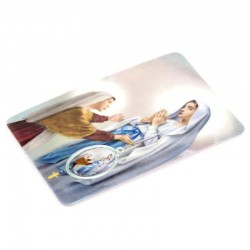 Plastified Card Our Lady of Lourdes with medal 5.5x8.5 cm