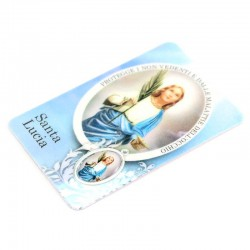 Plastified Card St. Lucia with medal 5.5x8.5 cm
