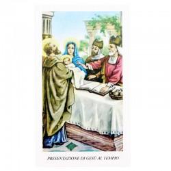 Immagine Presentazione di Gesù al tempio con preghiera 6x11 cm pz 100