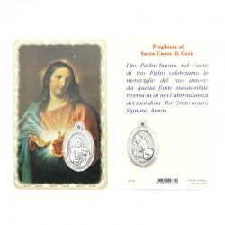 Card Sacro Cuore di Gesù con Medaglia 5,5x8,5 cm