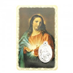 Sacred Heart of Jesus Card with Medal 5,5x8,5 cm