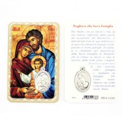 Card Sacra Famiglia con Medaglia 5,5x8,5 cm