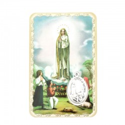 Our Lady of Fatima Card with Medal 5,5x8,5 cm
