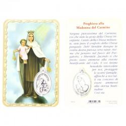 Card Madonna del Carmine con Medaglia 5,5x8,5 cm