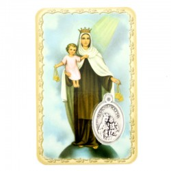 Our Lady of Carmel Card with Medal 5,5x8,5 cm
