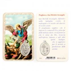 Card San Michele Arcangelo con Medaglia 5,5x8,5 cm