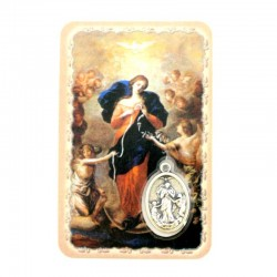 Card Our Lady of Knots with Medal 5,5x8,5 cm