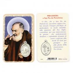 Card San Pio con Medaglia 5,5x8,5 cm