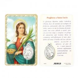 Card Santa Lucia con Medaglia 5,5x8,5 cm