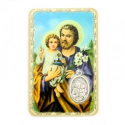 Card San Giuseppe with Medal 5.5x8.5 cm