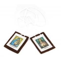 Scapolare Madonna del Carmine e Sacro Cuore di Gesù in stoffa 8x6 cm