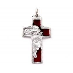 Croce volto Gesù smalto rosso 2x3,5 cm