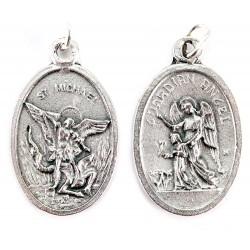 Medaglia San Michele e Angelo Custode in metallo 1,6x2,2 cm