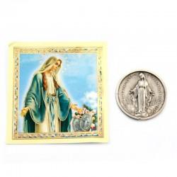 Medaglia moneta Madonna Miracolosa con preghiera 7x7 cm