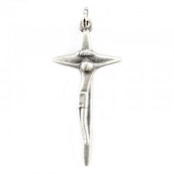 Croce sottile moderna in metallo argento 2x4 cm