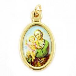 Medaglia ovale dorata San Giuseppe 1,5x2 cm