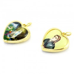 Heart shaped Medal Our Lady of Lourdes 2x2 cm